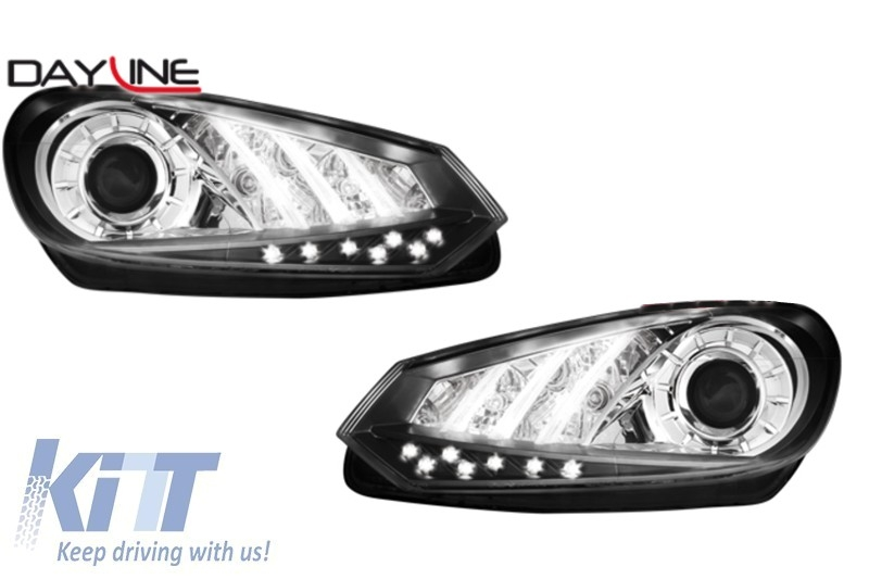 Faruri DAYLINE VW Golf VI 08+ Negru LED DRL Design