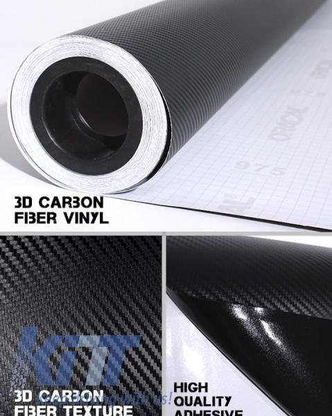 Folie Auto Carbon 3D Texturata 1.52m x 30m Negru