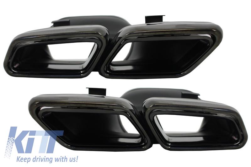 Exhaust Muffler Tips Mercedes Benz S-Class W222 E-Class S63 S65 W212 Facelift W205 C-Class S63 E63 Black Edition - TY-S63-W222B