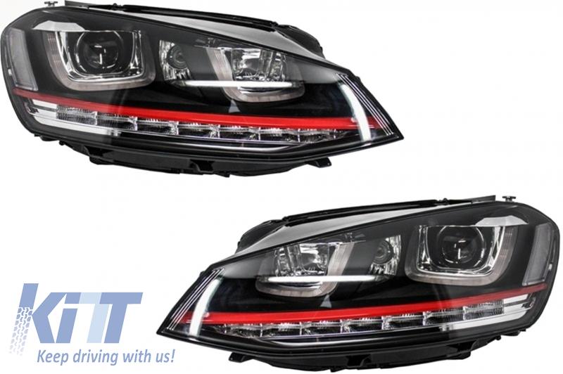 Faruri 3D LED Volkswagen Golf 7 VII (2012-2017) R20 GTI Design Semnal LED