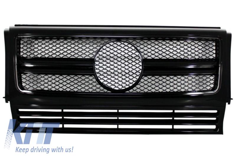 Grila Centrala Mercedes Benz W463 G-Class (1990-2012) 2012 G65 G63 AMG Look Piano Black Edition - FGMBW463AMGAB