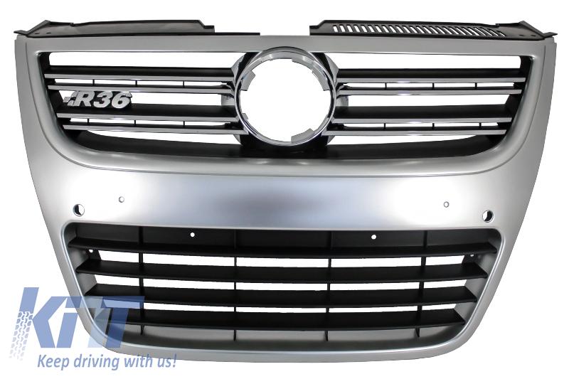 Grila centrala Volkswagen Passat 3C 2007-2010 R36 Design Aluminiu look - FGVWP3CR36S