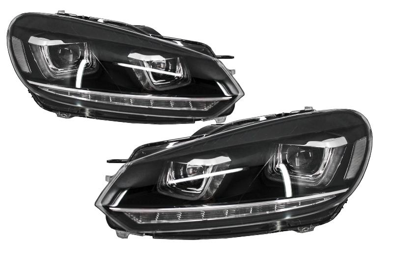 Faruri LED RHD Volkswagen VW Golf 6 VI (2008-up) Design Golf 7 3D U Design Semnal LED Dinamic