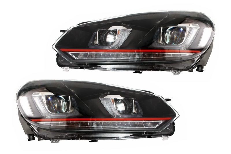 Faruri LED RHD Volkswagen Golf 6 VI (2008-up) Golf 7 U Design With Red Strip GTI semnal LED dinamic
