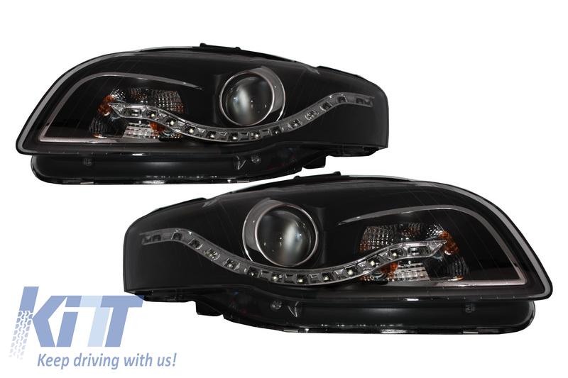 Faruri LED DRL Xenon Look AUDI A4 B7 (2004-2008) Negru