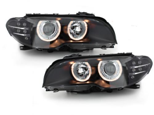 Faruri BMW E46 Coupe 03-06 Angel Eyes HID indicator LED negru -
