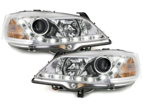 Faruri D-LITE Opel Astra G echipate cu lumina de zi LED  chrom