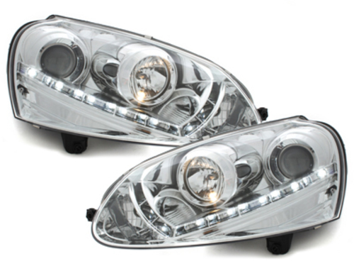 Faruri D-LITE VW Golf V echipate cu lumina de zi LED  chrom