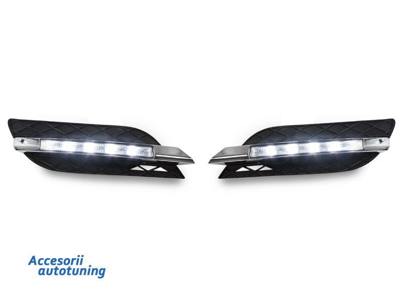 DRL with Grills For Mercedes E CLASS W211 (07-09) Non-AMG Bumper LED Daytime Running Lights