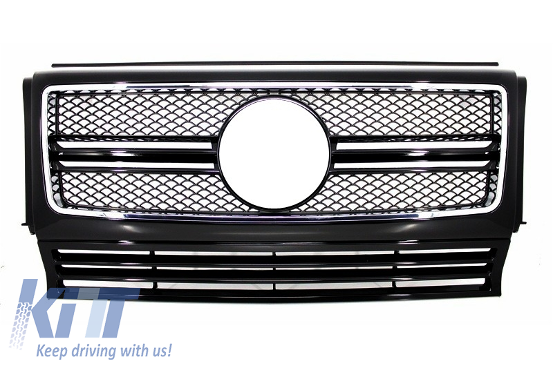 Front Grille Mercedes W463 G-Class (1990-2012) New G65 AMG Look Piano Black with Chrome Frame Edition