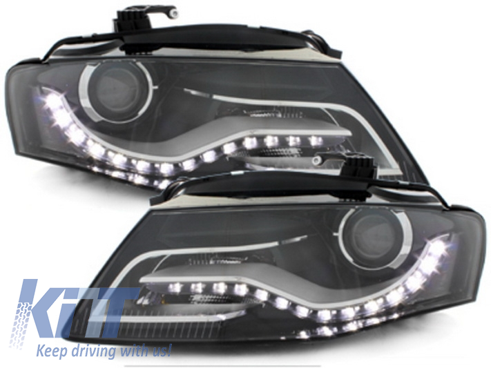HEADLIGHTS LED AUDI A4 B8 8K (2008-2011) WITH DAYTIME RUNNING LIGHTS BLACK
