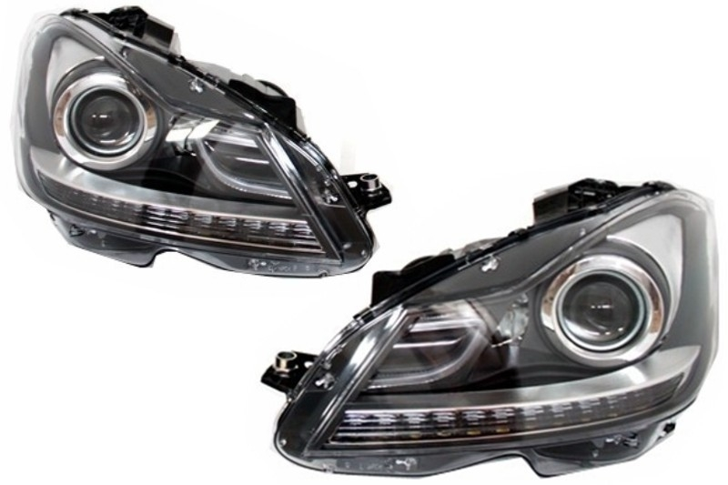 LED DRL Headlights suitable for MERCEDES C-Class W204 Facelift (2011-2014) Bi-Xenon