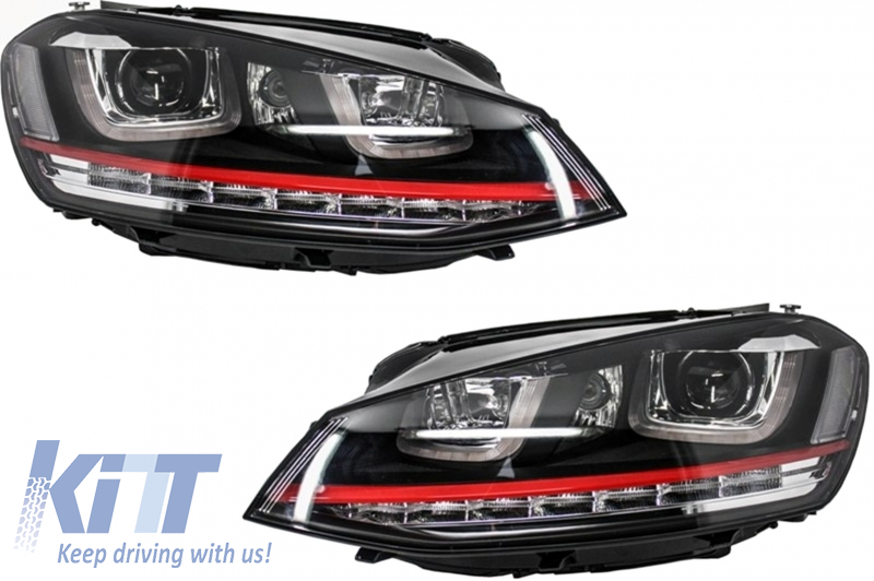 Headlights 3D LED DRL Volkswagen Golf 7 VII (2012-2017) RED R20 GTI Look LED Turn Light