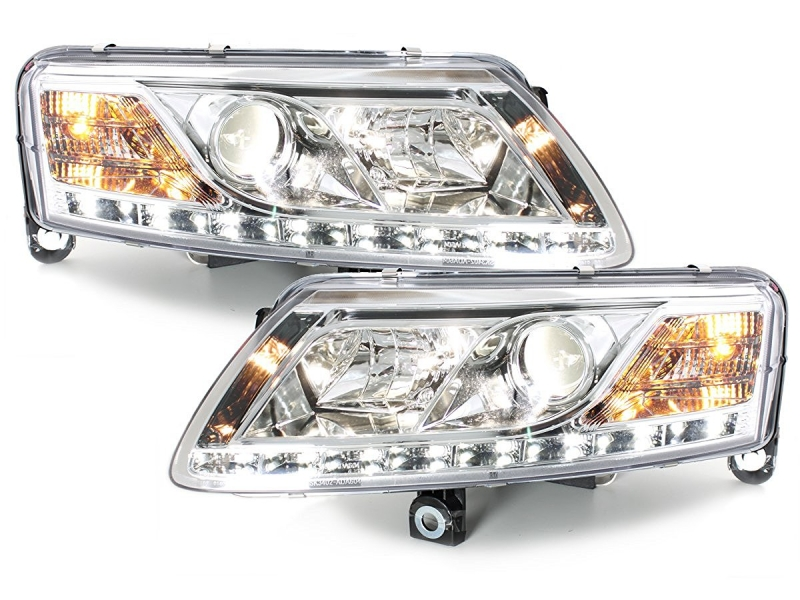 D-LITE Headlights Audi A6 4A 04-08 LED DRL HID Xenon D2S Chrome