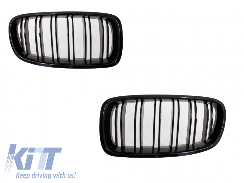 Central Grilles Kidney Grilles BMW F30 Double Stripe M Design Piano Black
