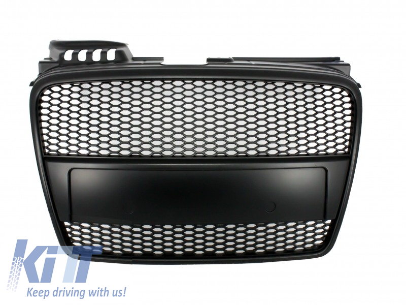 Badgeless Front Grille Audi A4 B7 (2004-2008) RS4 Matte Black - FGAUA4B7RSBB