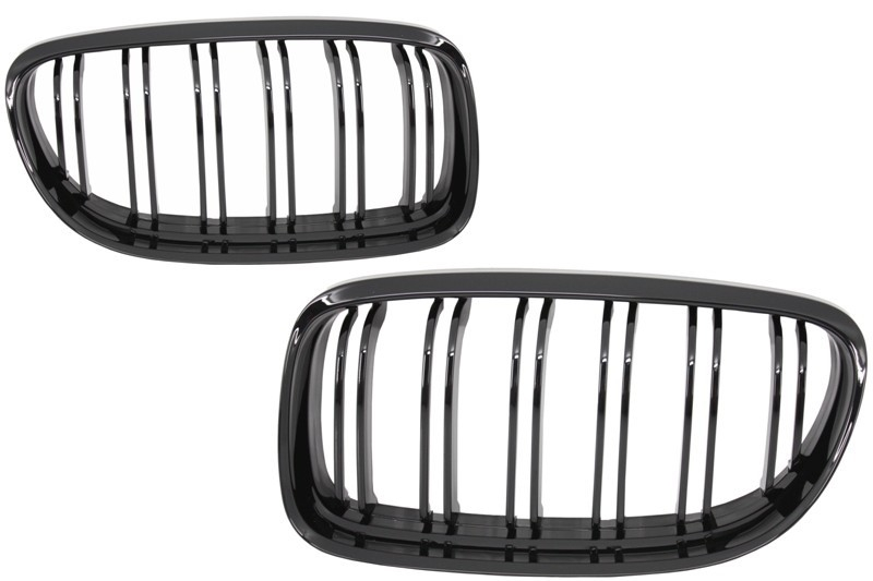Front Grilles BMW E90 LCI Seria 3 (2008-2011) Double Stripe M Design Piano Black