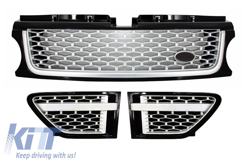Central Grille and Side Vents Assembly Land Rover Range Rover Sport Facelift (2009-2013) L320 Autobiography Look Black Silver Edition