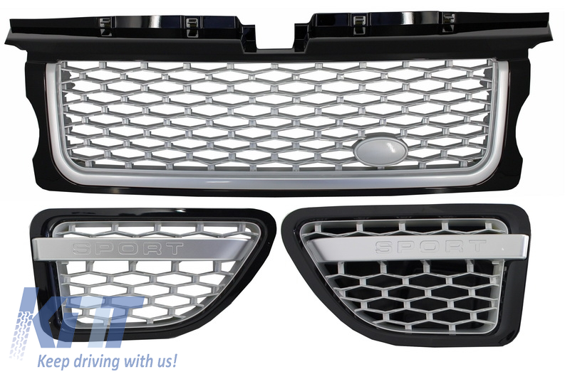 Central Grille and Side Vents Assembly Land Rover Range Rover Sport (2005-2008) L320 Autobiography Look Black Silver Edition