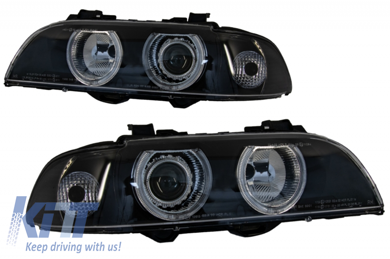 Angel Eyes Headlights suitable for BMW 5 Series E39 Sedan Touring (1996-2003) Black Grey Edition