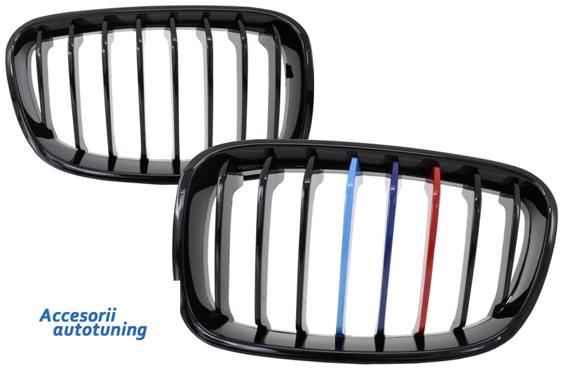 Central Grilles Kidney Grilles BMW 1 Series F20 F21 (2011-2014) M-Power 3 Color Design Piano Black