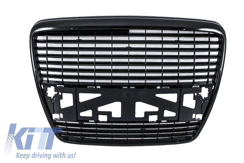 Badgeless Front Grille suitable for AUDI A6 4F (2004-2011) Piano Black