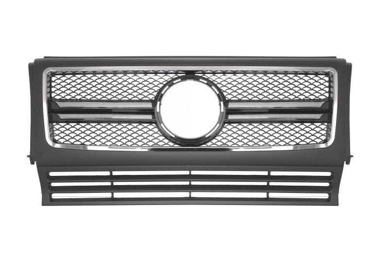 Front Grille suitable for MERCEDES W463 G-Class (1990-2012) New G65 A-Design Matte and Piano Black with Chrome Frame Edition