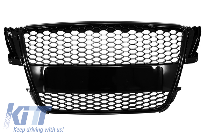Badgeless Front Grille suitable for AUDI A5 8T (2007-2011) RS Design Piano Black