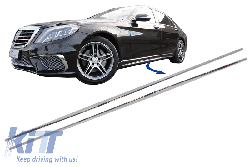 Chrome Parts Trim Strips Side Skirts Mercedes Benz W222 S-Class (2013-up) S65 S63 AMG Design
