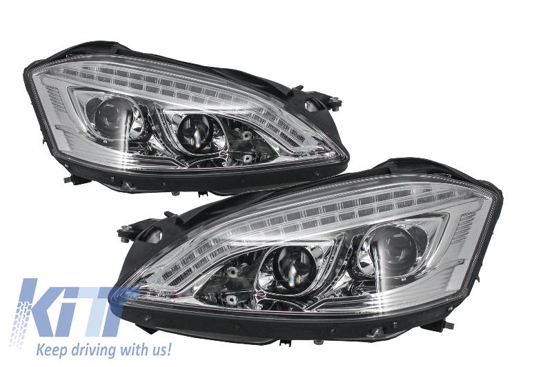 HID Xenon Headlights LED DRL Mercedes W221 S-Class (2005-2009) W222 Look Chrome