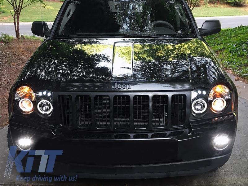 led headlights jeep grand cherokee wh (2005-2008) halo angel eyes black