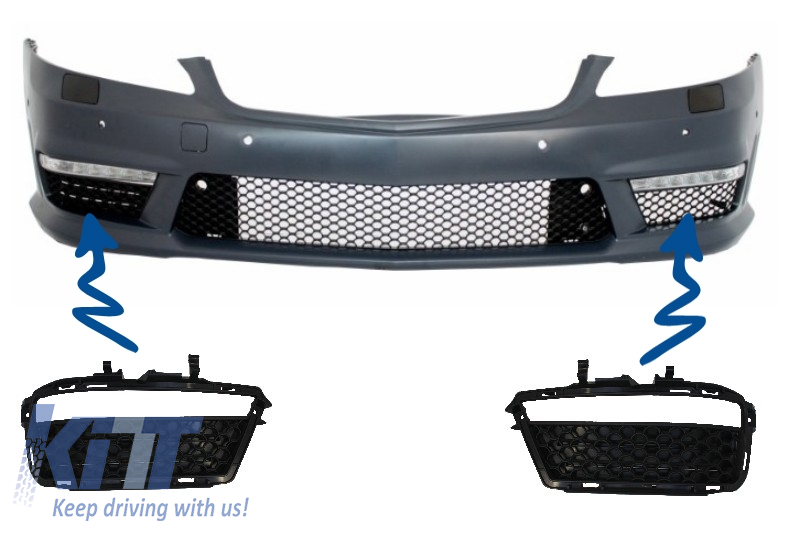 Side Grilles Fog Light DRL Front Bumper suitable for MERCEDES Benz W221 S-Class (2005-2012) S63 S65 A-Design