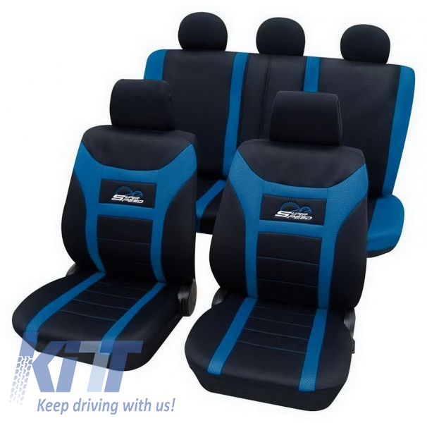 Universal seat cover Eco-Class Super-Speed complete set 11 pieces Blue