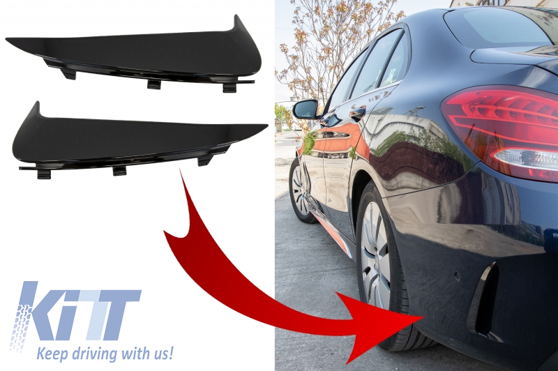 Rear Bumper Flaps Side Fins Flics suitable for MERCEDES C-Class W205 S205 (2014-2018) Piano Black