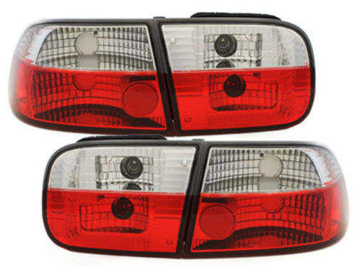 taillights Honda Civic 92-95 3d _ red/crystal
