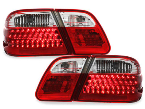 LED taillights Mercedes Benz E-class W210 95-02 red/crys.