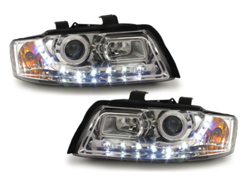 DAYLINE LED DRL Headlights AUDI A4 8E 01-04 Chrome