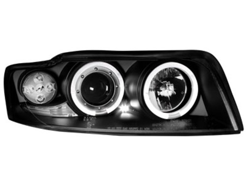 Headlights Audi A4 8E 01-04 _ 2 halo rims _ black