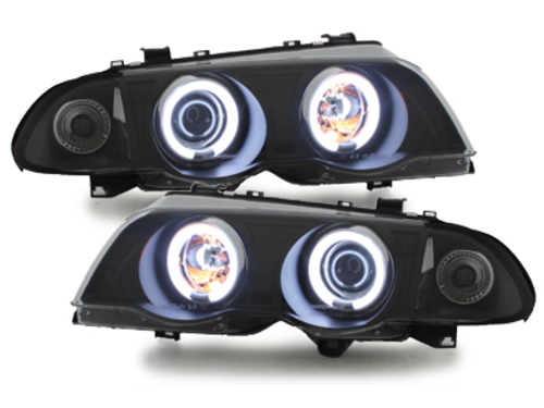 Headlights BMW E46 Limo 98-01 2 CCFL Halo Rings Black