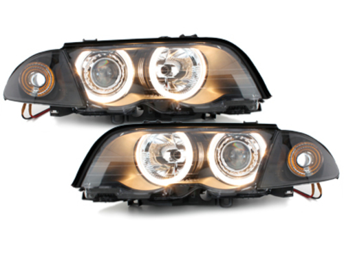 headlights BMW E46 4D 98-01 _ 2 halo rims_black