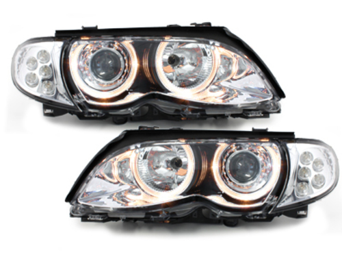 headlights BMW E46 4d 01-03 _ 2 halo rims
