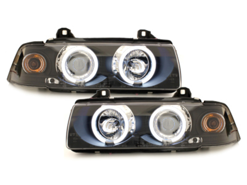headlights BMW E36 Coupe/Cabrio 92-98_2 CCFL halo rims_black