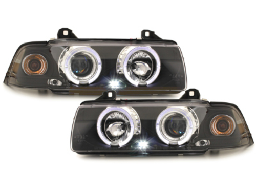 headlights BMW E36 Lim. 7.92-3.98 _ 2 halo rims _ black