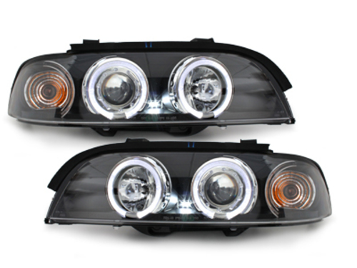 headlights BMW E39 5 Series 95-00 _ 2 halo rims_ black
