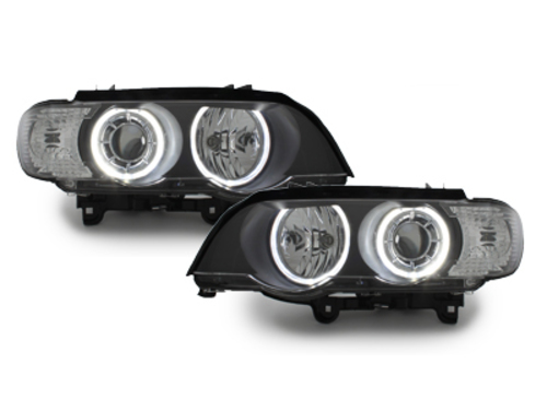Headlights BMW X5 E53 04-06 2 halo rims black