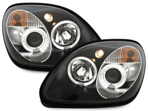 headlights M. Benz SLK 96-04 _ 2 halo rims _ black
