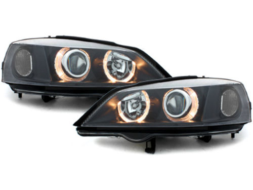 Headlights Vauxhall for Opel Astra G Angel Eyes 98-04 Halo Rims Lamps Black