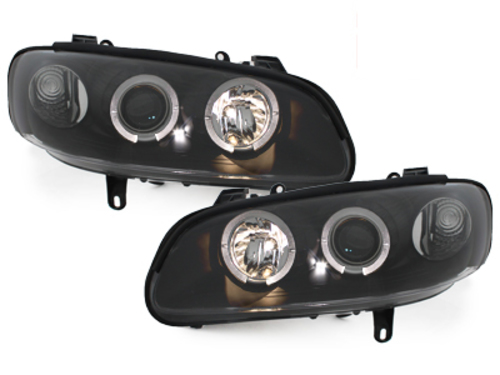 headlights Opel Omega B 94-99 _ 2 halo rims _ black