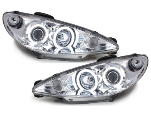 headlights Peugeot 206 02-07_2 CCFL halo rims_chrome