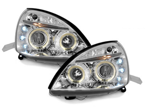 headlights Renault Clio MK3 01-05 _ 2 halo rims _ chrome